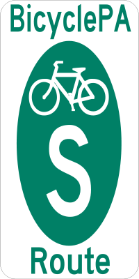 PA Bike Route S sign