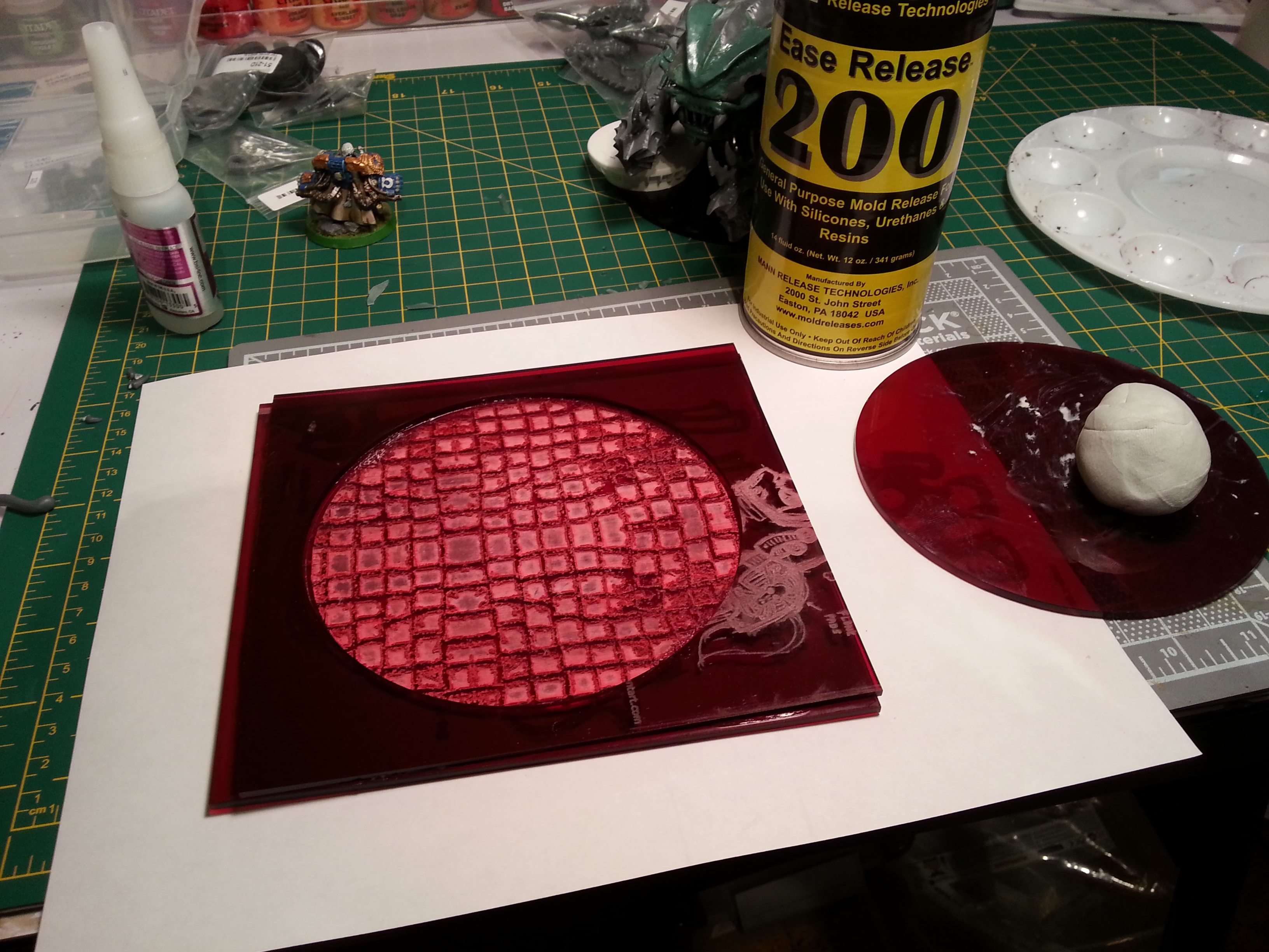 Barbie Step Eleven - The final mold, glued together. I used some different acrylic scrap, translucent red this time.